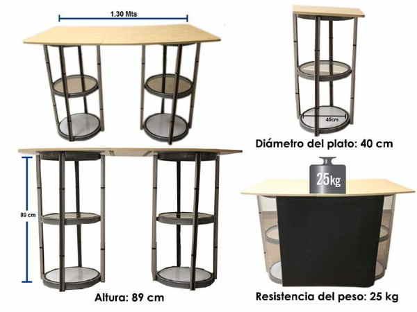 Medidas del display tipo escritorio con pvc